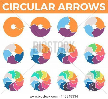 Circular arrows for infographics with 1 - 12 parts. Vector design element.