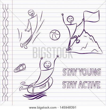 Hand drawn sports icons. Jumping, climbing, aqua park. Stay young, stay active. Active sports icons.