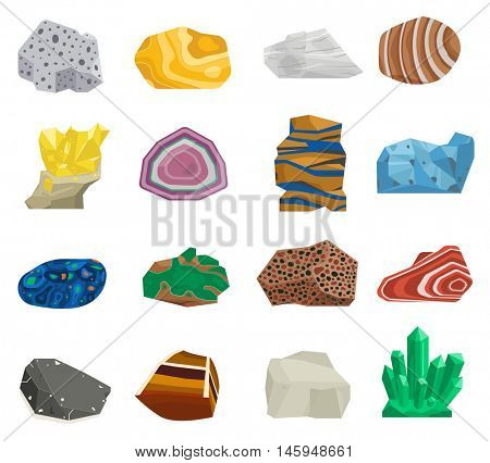 Mineral stone vector set.