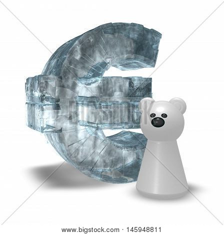 ice euro symbol and white bear pawn - 3d rendering