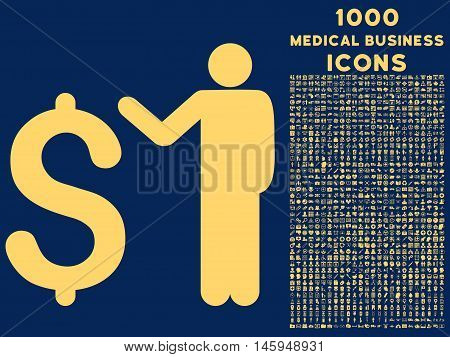 Banker vector icon with 1000 medical business icons. Set style is flat pictograms, yellow color, blue background.