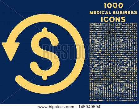 Chargeback vector icon with 1000 medical business icons. Set style is flat pictograms, yellow color, blue background.