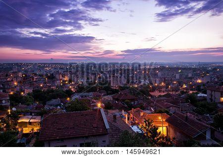 Sunrise over City Photography. Cityscape Photo. Urban Photo City Night. Lights