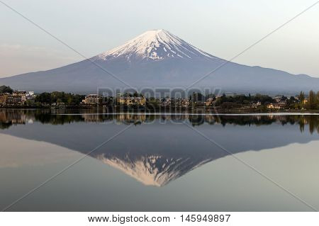 Mt. Fuji reflection in a lake in Fujikawaguchiko, Japan