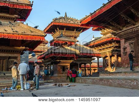 KATHMANDU, NEPAL - CIRCA DECEMBER 2013: Kathmandu Durbar Square is a UNESCO World Heritage Site. Several buildings collapsed during the 2015 Nepal earthquake.