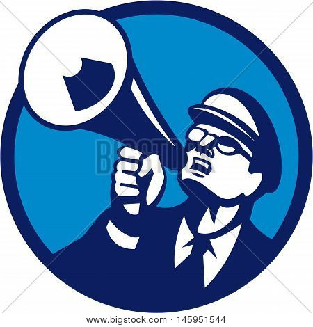 Illustration of a nerd man wearing hat and eye glasses looking up shouting through megaphone set inside circle on isolated background done in retro style.
