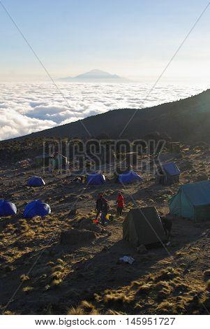 Moshi,tz - Circa  August 2010 - Sunset At Barranco Camp On Kilimanjaro