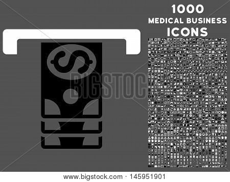 Banknotes Withdraw vector bicolor icon with 1000 medical business icons. Set style is flat pictograms, black and white colors, gray background.