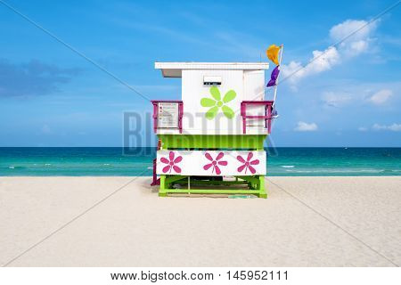 Colorful lifeguard tower on a sunny day in South Beach, Miami