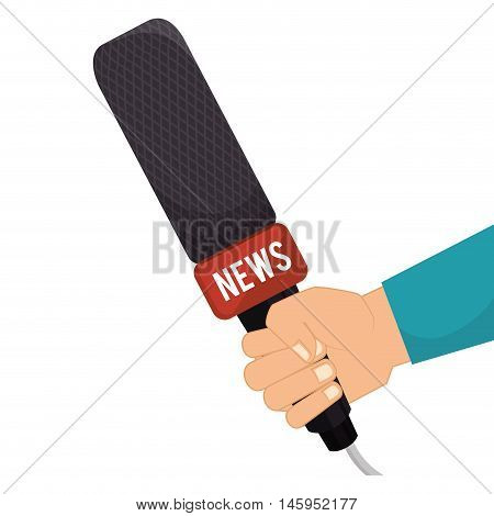 microphone hand journalist mic news  audio communication technology. Vector illustration
