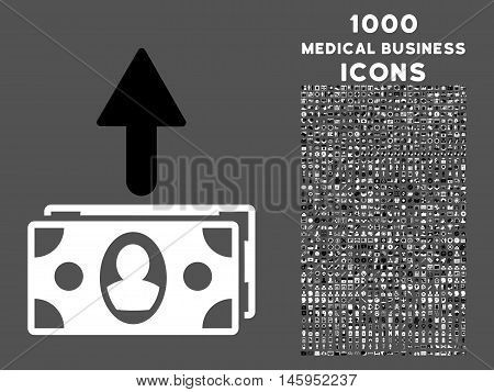 Spend Banknotes vector bicolor icon with 1000 medical business icons. Set style is flat pictograms, black and white colors, gray background.