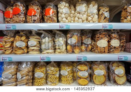 St Aygulf, Var, Provence, France, August 26 2016: Various Cakes, Cookies And Biscuits On The Shelves