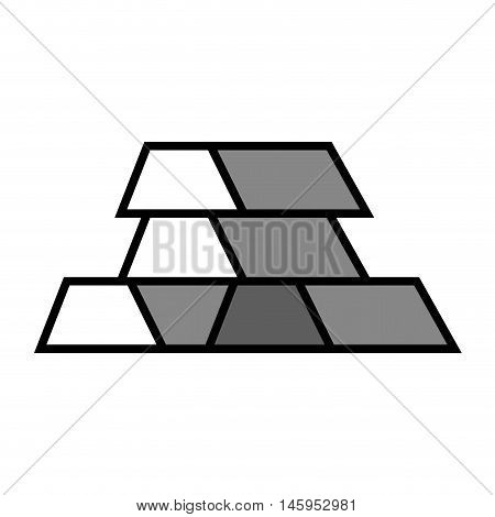 gold bar block money rich fortune silhouette vector illustration