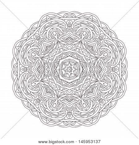 Mandala. Vintage hand drawn decorative vector illustration. round lace design. Ethnic tribal Oriental arabic Indian motif. Pattern for zentangle coloring book zendoodle.