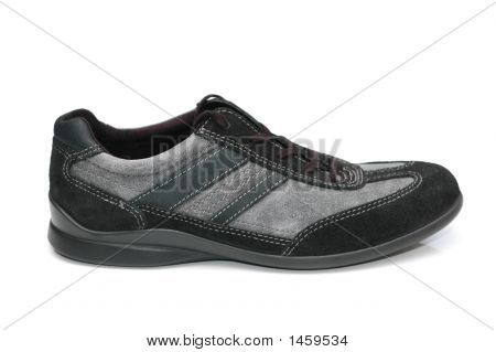 Grey Sporty Shoe Isolated  On The White