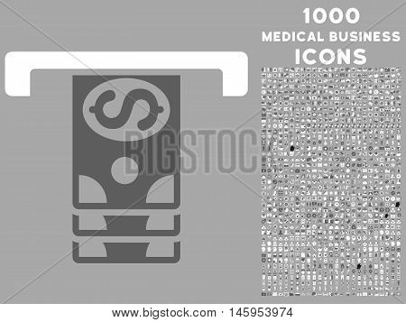 Banknotes Withdraw vector bicolor icon with 1000 medical business icons. Set style is flat pictograms, dark gray and white colors, silver background.