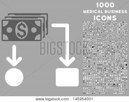 Cashflow vector bicolor icon with 1000 medical business icons. Set style is flat pictograms, dark gray and white colors, silver background.
