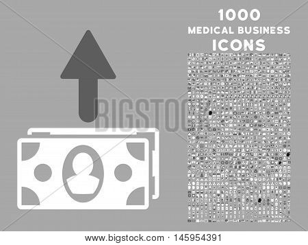 Spend Banknotes vector bicolor icon with 1000 medical business icons. Set style is flat pictograms, dark gray and white colors, silver background.