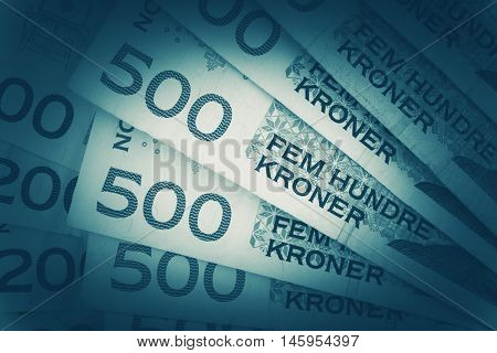 Norwegian Krones Closeup. Five Hundred Krone Banknotes Closeup.