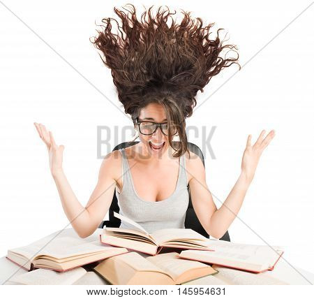 Woman screaming in front of the books