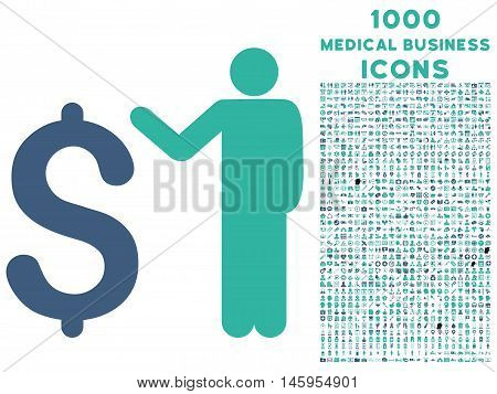 Banker vector bicolor icon with 1000 medical business icons. Set style is flat pictograms, cobalt and cyan colors, white background.