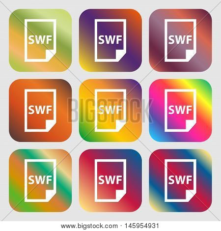Swf File Icon . Nine Buttons With Bright Gradients For Beautiful Design. Vector