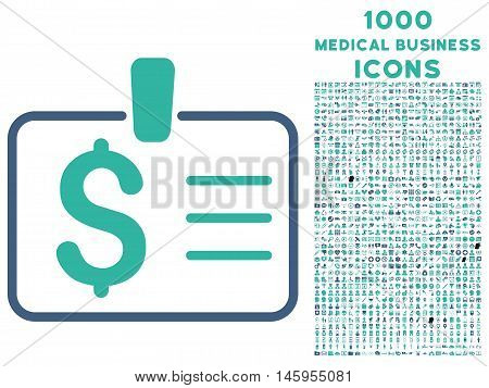 Dollar Badge vector bicolor icon with 1000 medical business icons. Set style is flat pictograms, cobalt and cyan colors, white background.