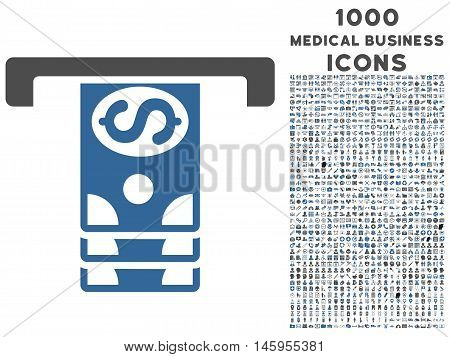 Banknotes Withdraw vector bicolor icon with 1000 medical business icons. Set style is flat pictograms, cobalt and gray colors, white background.