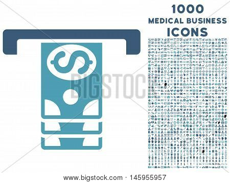 Banknotes Withdraw vector bicolor icon with 1000 medical business icons. Set style is flat pictograms, cyan and blue colors, white background.