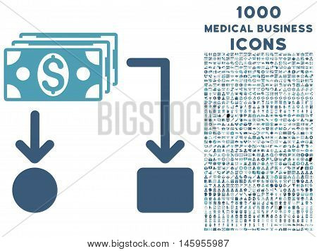 Cashflow vector bicolor icon with 1000 medical business icons. Set style is flat pictograms, cyan and blue colors, white background.