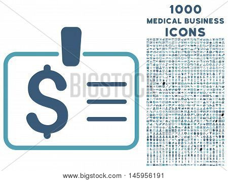 Dollar Badge vector bicolor icon with 1000 medical business icons. Set style is flat pictograms, cyan and blue colors, white background.