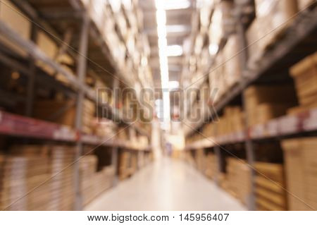 Close up Defocused warehouse with multi-layer shelves
