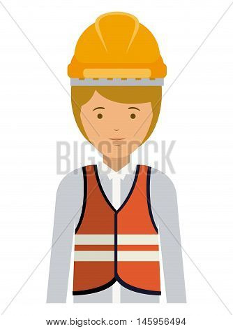 constructer man and cartoon icon. profession worker and occupation theme. Isolated design. Vector illustration