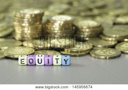 Equity Text And Gold Coins