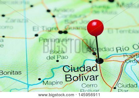 Ciudad Bolivar pinned on a map of Venezuela
