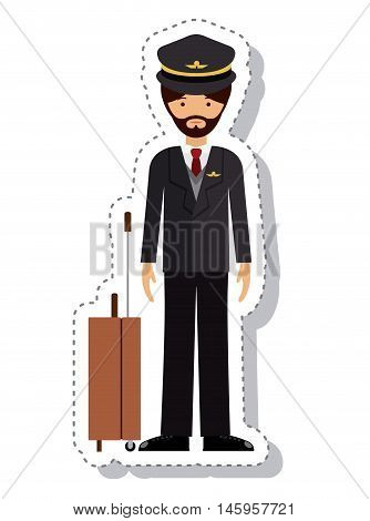 pilot man and cartoon icon. profession worker and occupation theme. Isolated design. Vector illustration