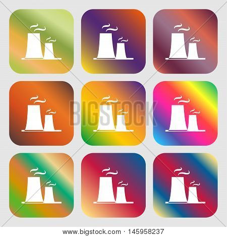 Atomic Power Station Icon . Nine Buttons With Bright Gradients For Beautiful Design. Vector