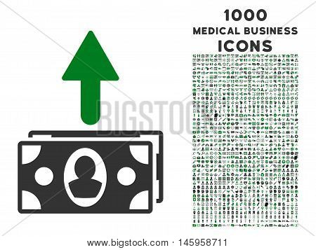 Spend Banknotes vector bicolor icon with 1000 medical business icons. Set style is flat pictograms, green and gray colors, white background.