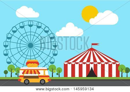 Amusement theme park background flat design vector illustration