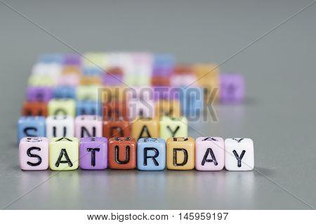 Saturday Text On Dice