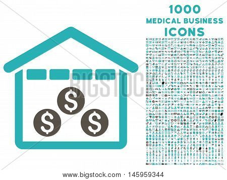 Money Depository vector bicolor icon with 1000 medical business icons. Set style is flat pictograms, grey and cyan colors, white background.