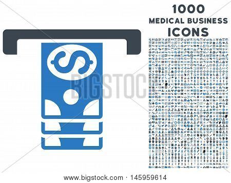 Banknotes Withdraw vector bicolor icon with 1000 medical business icons. Set style is flat pictograms, smooth blue colors, white background.