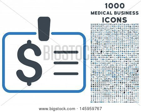 Dollar Badge vector bicolor icon with 1000 medical business icons. Set style is flat pictograms, smooth blue colors, white background.