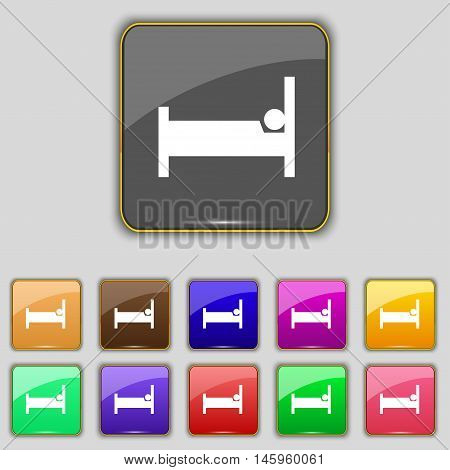 Hotel Icon Sign. Set With Eleven Colored Buttons For Your Site. Vector