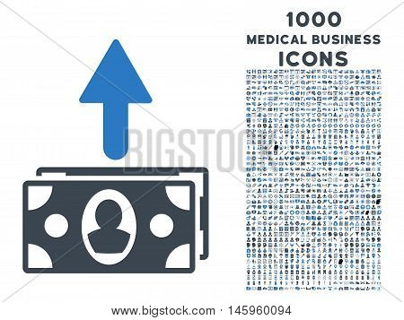 Spend Banknotes vector bicolor icon with 1000 medical business icons. Set style is flat pictograms, smooth blue colors, white background.