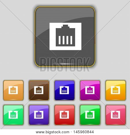 Internet Cable, Rj-45 Icon Sign. Set With Eleven Colored Buttons For Your Site. Vector