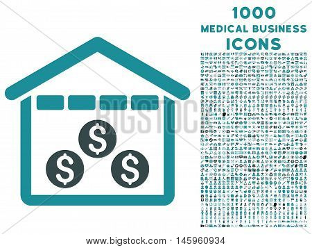 Money Depository vector bicolor icon with 1000 medical business icons. Set style is flat pictograms, soft blue colors, white background.