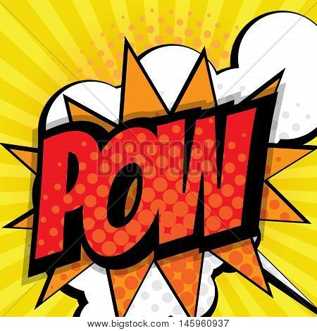 pow pop art comic book background vector illustration