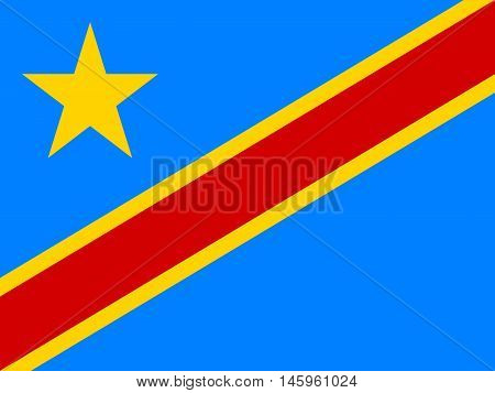 Flag of Democratic Republic of the Congo correct size proportion colors. Accurate official standard dimensions. DR Congo national flag. African patriotic symbol banner element. Vector illustration