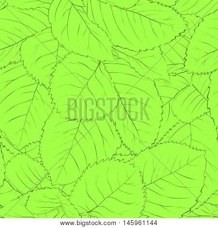 Beautiful seamless background with green leaves. Hand-drawn contour lines and strokes.
